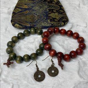 Asian wood bracelet set